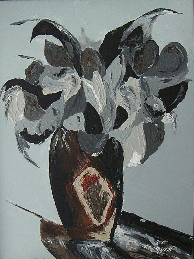 Grey Flowers In Vase Painting