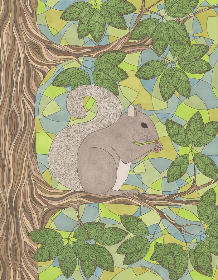Grey Squirrel Drawing  - Grey Squirrel Fine Art Print