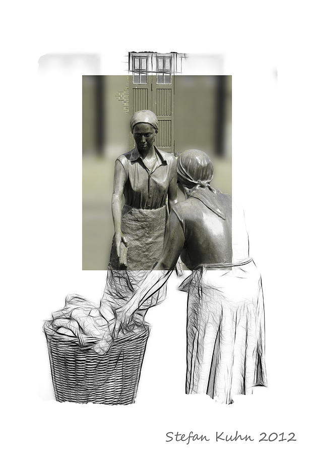 Woman Women Female Working Work Worker 1900 Drawing Art Sketch Pencil  Mixed Media - Grey Times by Steve K