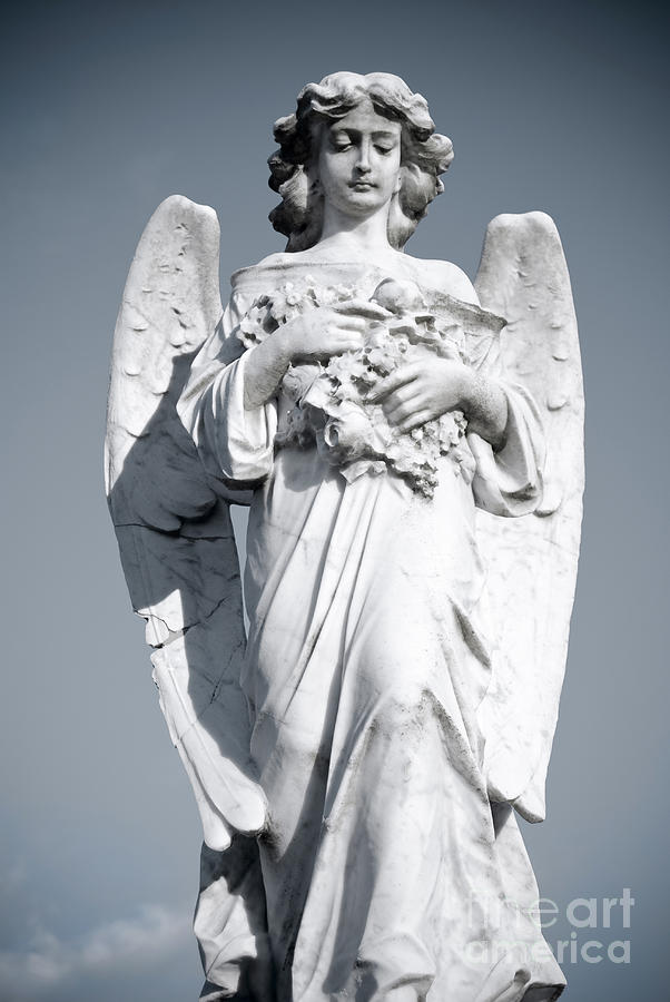 Grieving Angel On The Old Graveyard Sculpture
