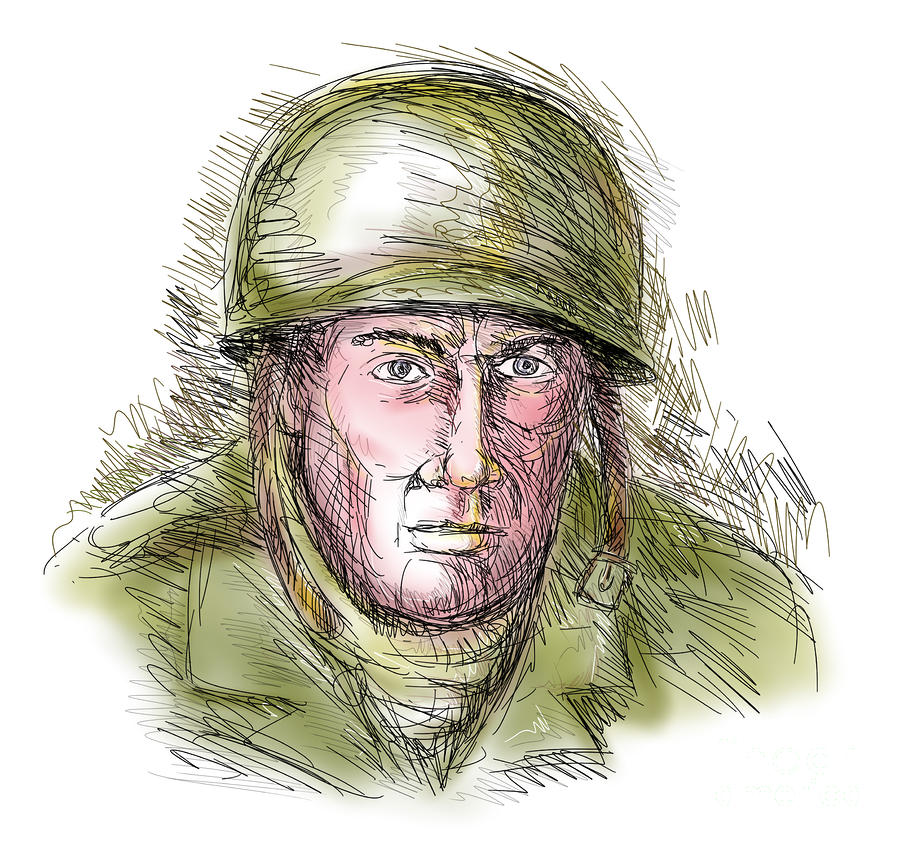 Gritty World War Two Soldier Digital Art  - Gritty World War Two Soldier Fine Art Print