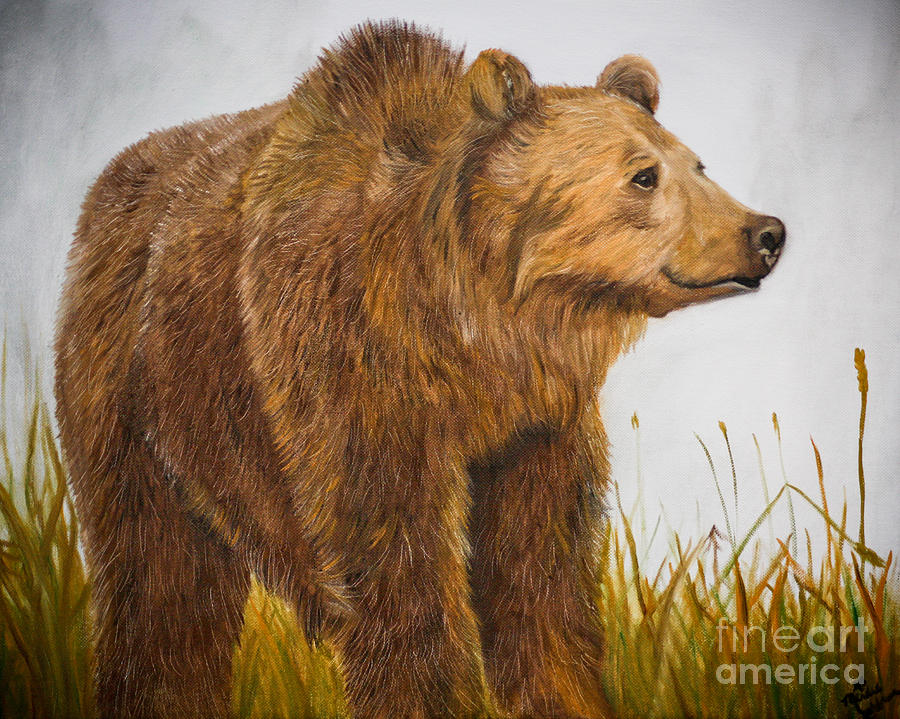 Grizzly Bear.kodiak Brown Bear Painting - Grizzly Bear by Mindee Green
