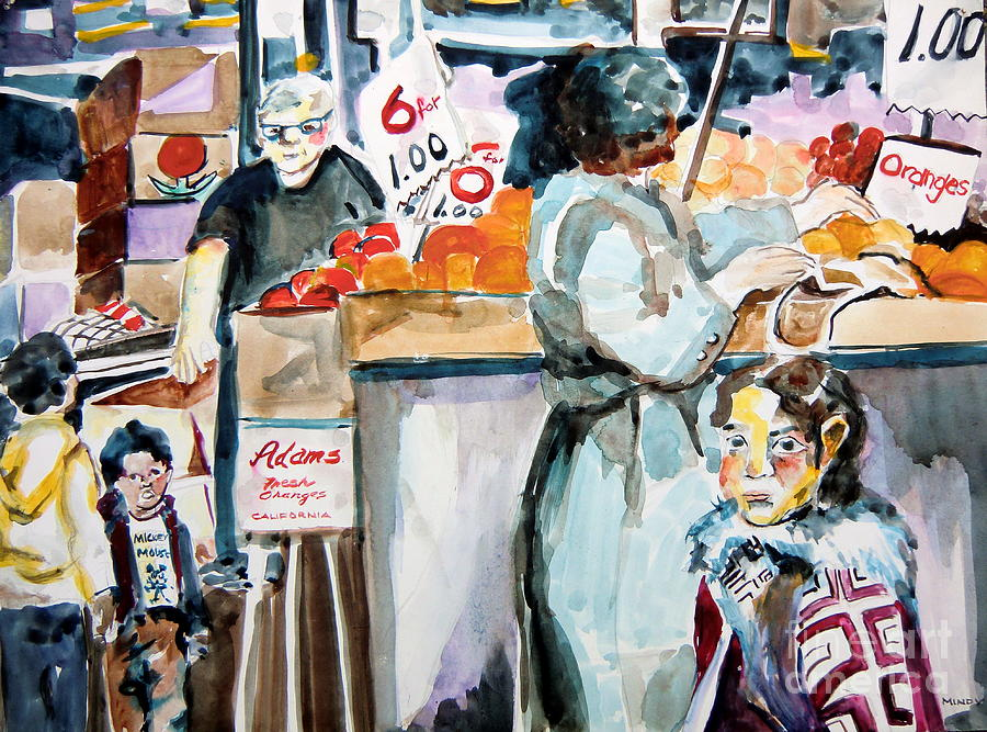 Grocery Painting - Grocery Shopping by Mindy Newman