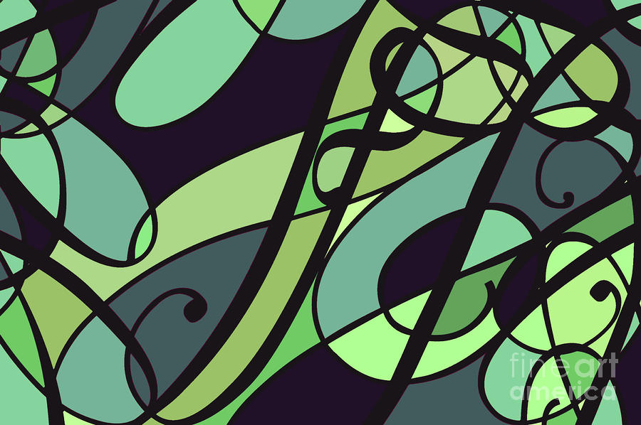 Groovy Green Abstract Swirl Design Digital Art