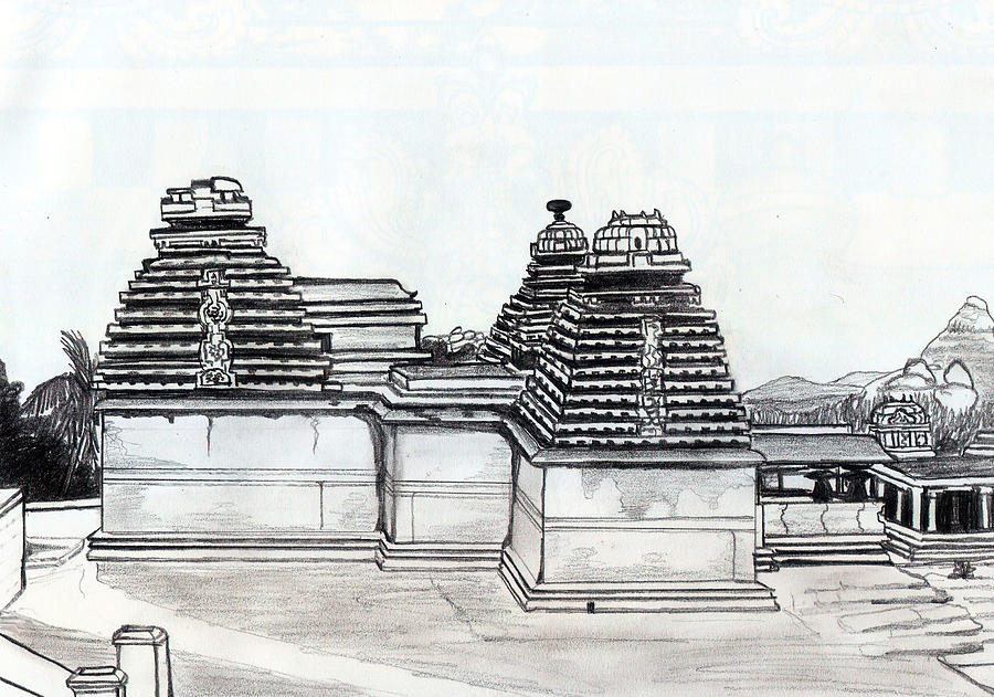 Group Of Jain Temples Hampi Drawing  - Group Of Jain Temples Hampi Fine Art Print