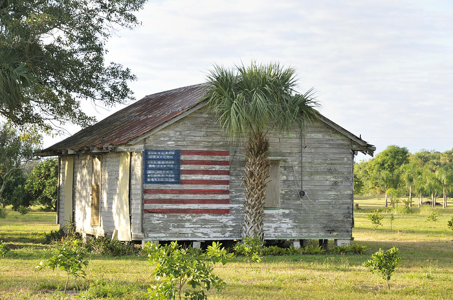 Grove Shack With Flag Photograph  - Grove Shack With Flag Fine Art Print
