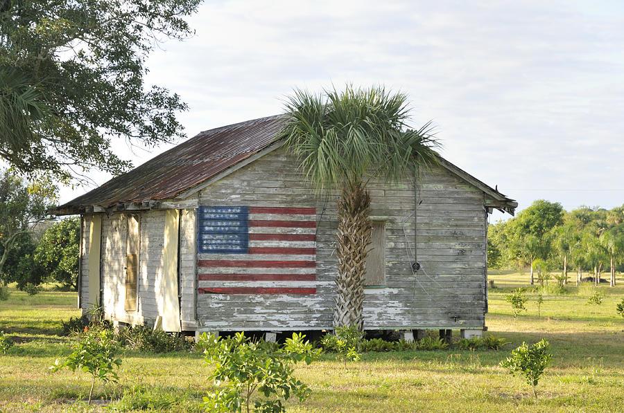 Grove Shack With Flag Photograph