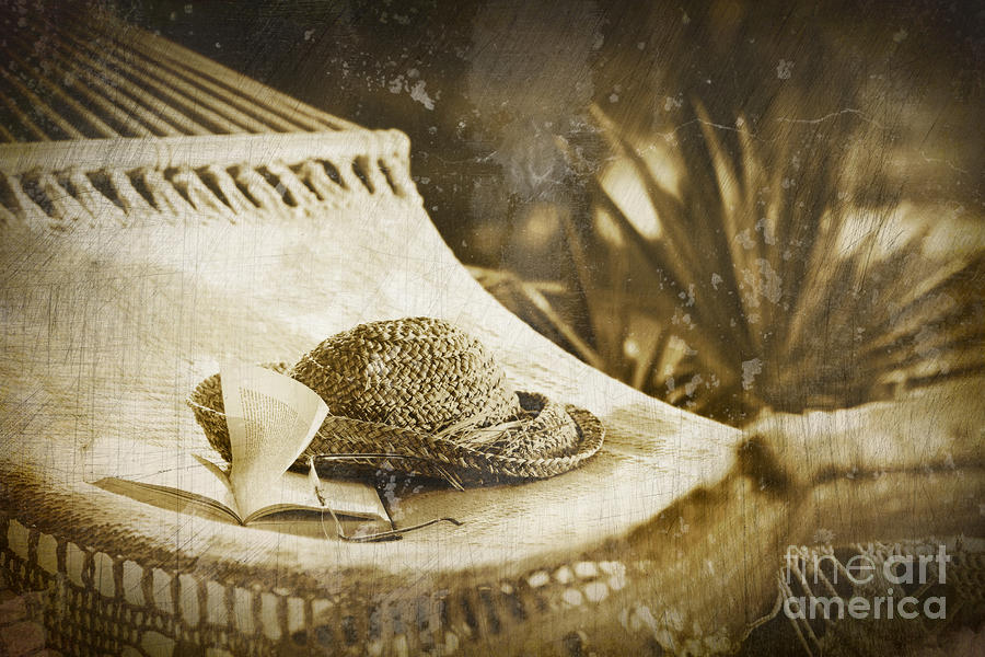 Grunge Photo Of Hammock And Book Photograph  - Grunge Photo Of Hammock And Book Fine Art Print