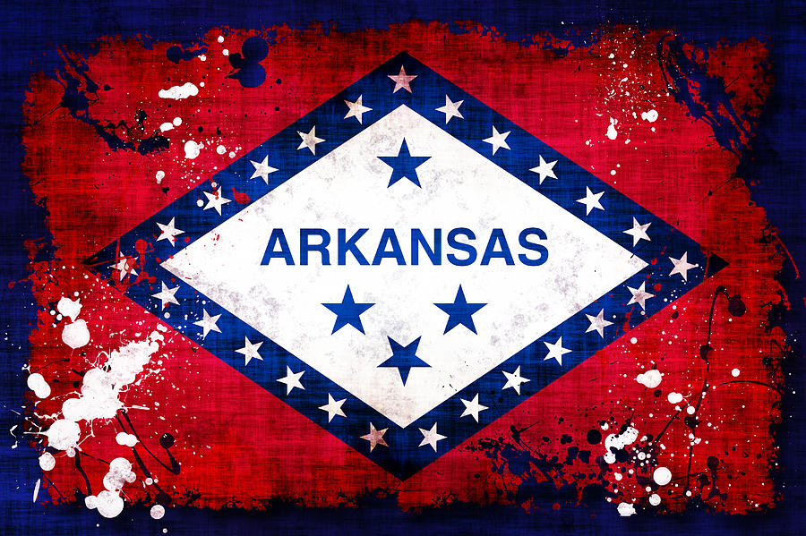 Grunge Style Arkansas Flag Photograph