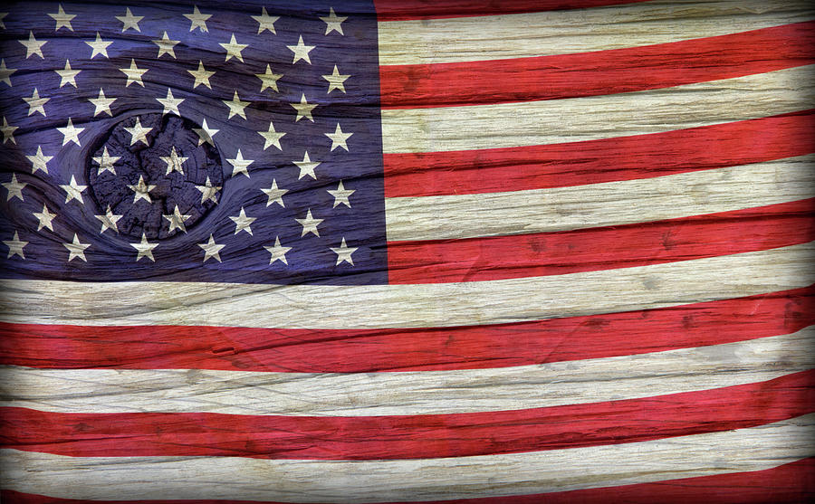 Grungy Textured Usa Flag Photograph  - Grungy Textured Usa Flag Fine Art Print