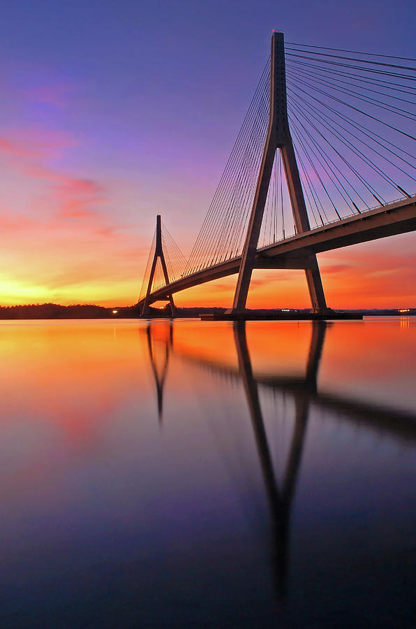 Guadiana Bridge Over Sunset Photograph  - Guadiana Bridge Over Sunset Fine Art Print