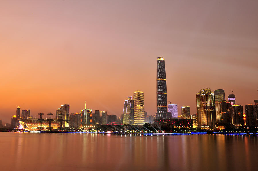 Guangzhou At Dusk Time, Guangdong, China Photograph  - Guangzhou At Dusk Time, Guangdong, China Fine Art Print