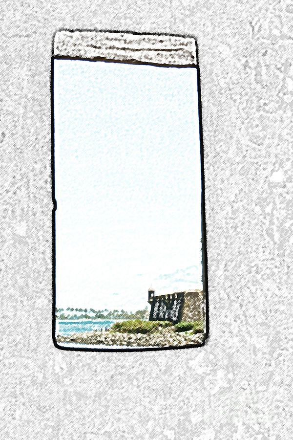 Guard Tower View Castillo San Felipe Del Morro San Juan Puerto Rico Colored Pencil Digital Art  - Guard Tower View Castillo San Felipe Del Morro San Juan Puerto Rico Colored Pencil Fine Art Print