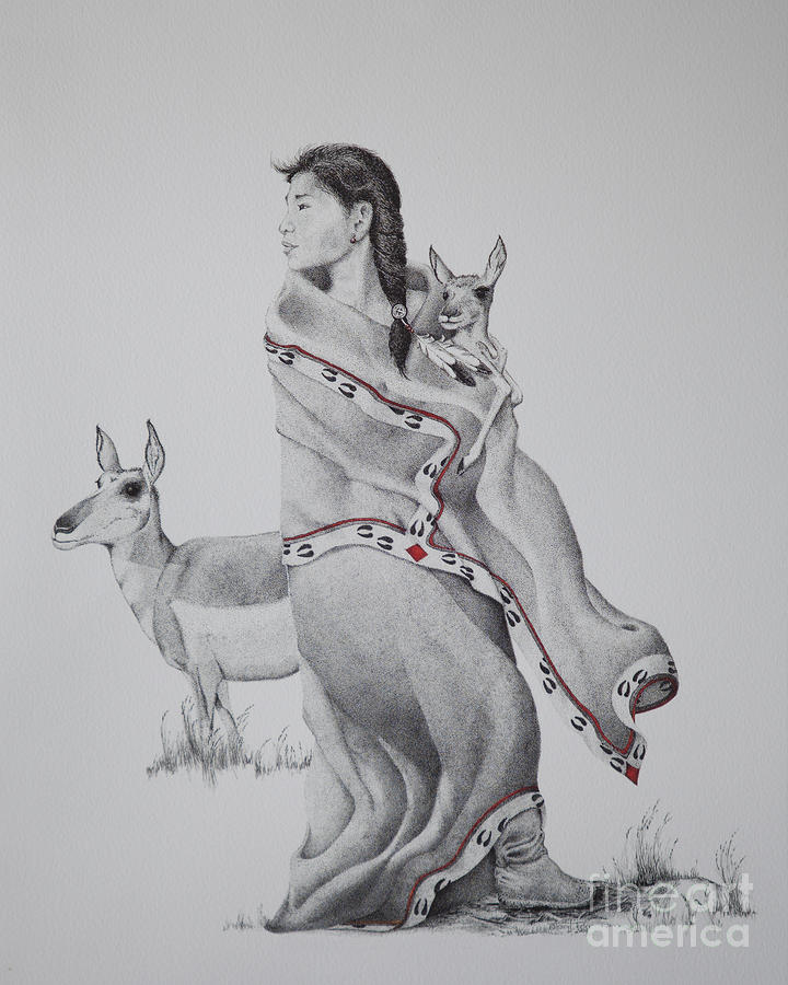 Native Drawing - Guardian Of The Herd by Tracy L Teeter