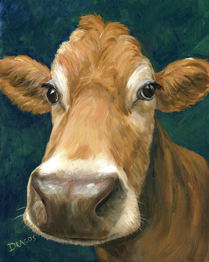 Guernsey Cow On Teal Painting  - Guernsey Cow On Teal Fine Art Print
