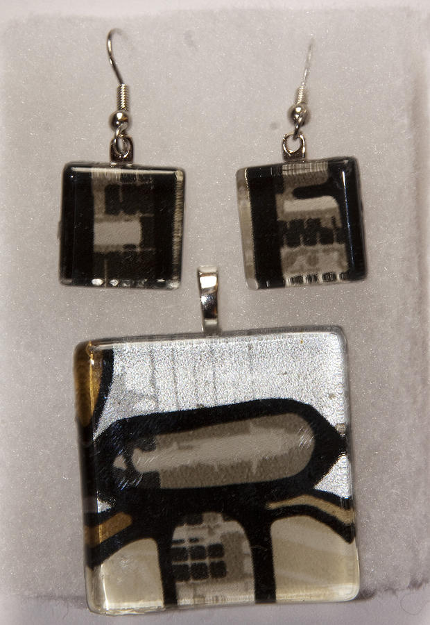 Guitar Glass Tile Set Jewelry