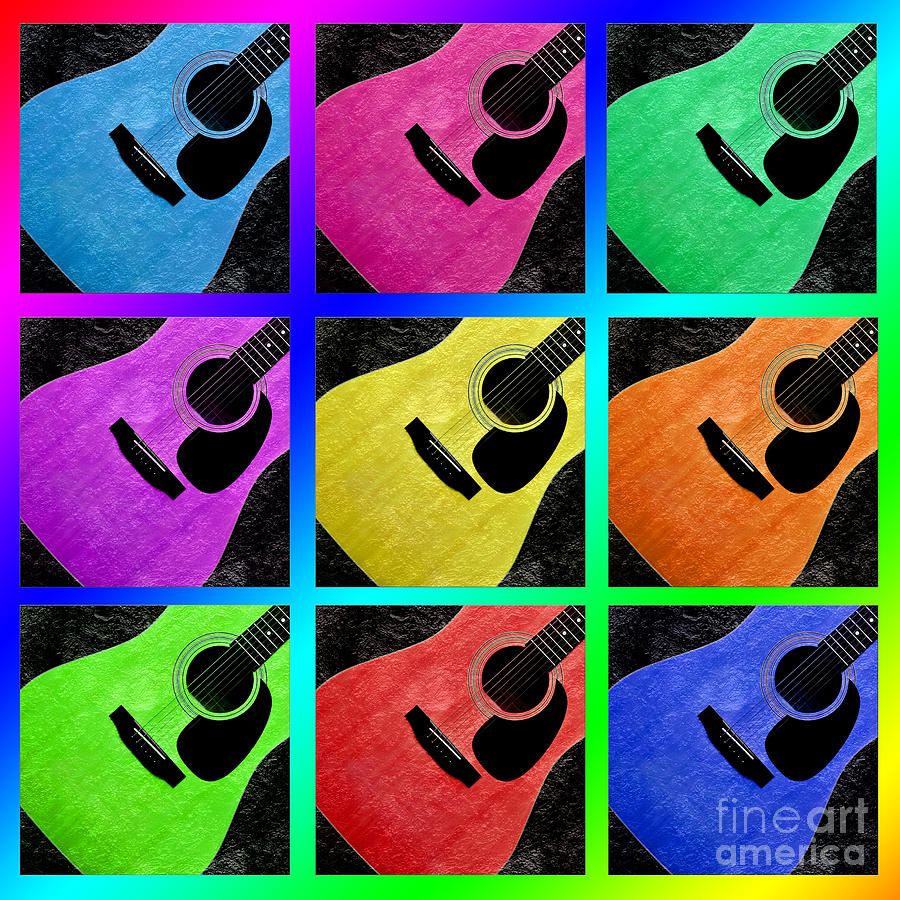 Guitar Photograph - Guitar Tic Tac Toe Rainbow by Andee Design