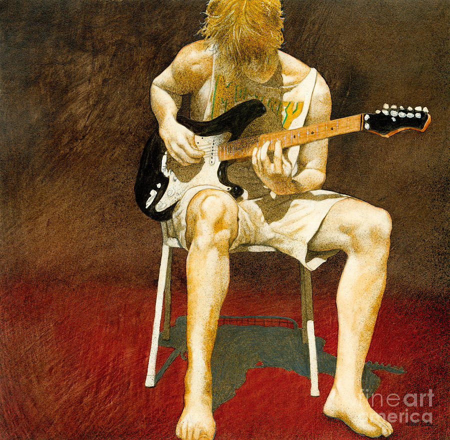 Guitarman... Painting  - Guitarman... Fine Art Print