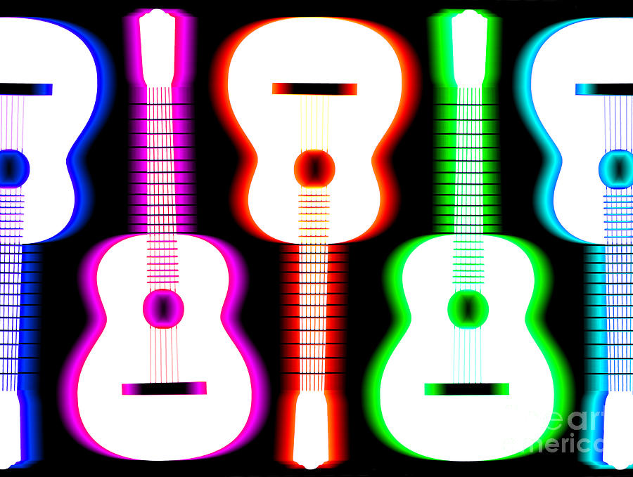 Guitars On Fire 5 Drawing  - Guitars On Fire 5 Fine Art Print