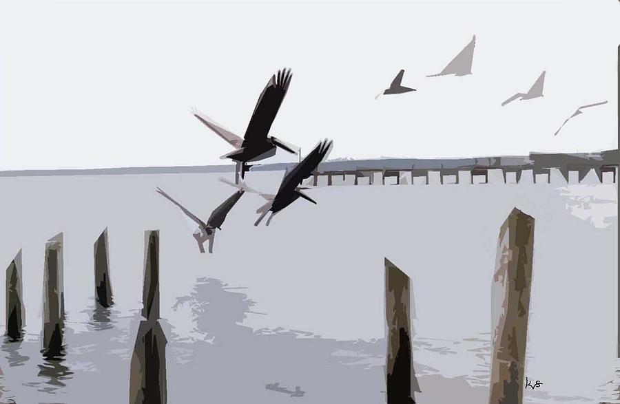 Gulf Shores Pelicans Digital Art
