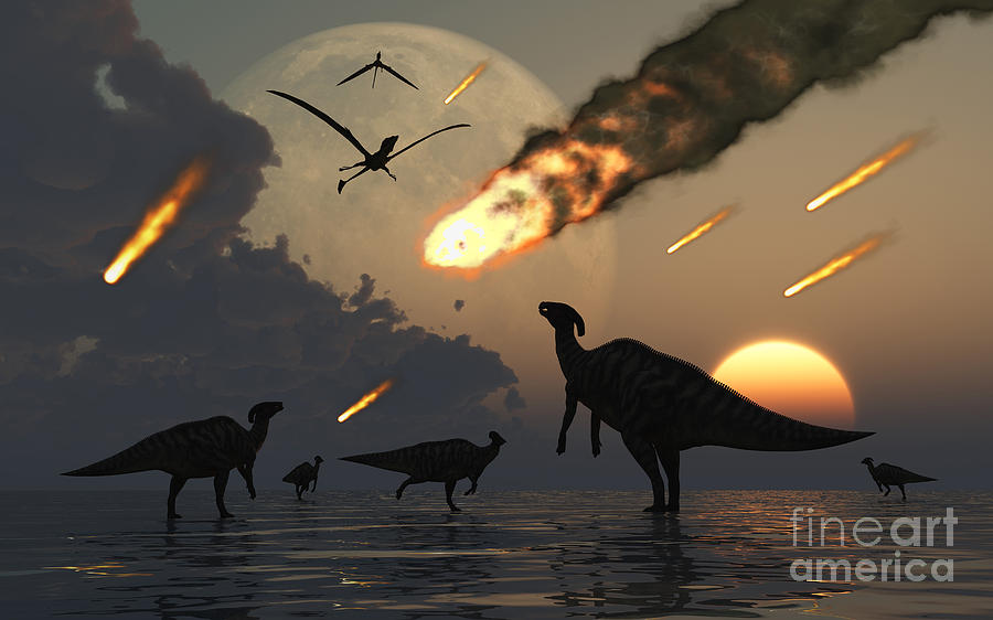Hadrosaurs Graze Peacefully As Burning Digital Art  - Hadrosaurs Graze Peacefully As Burning Fine Art Print