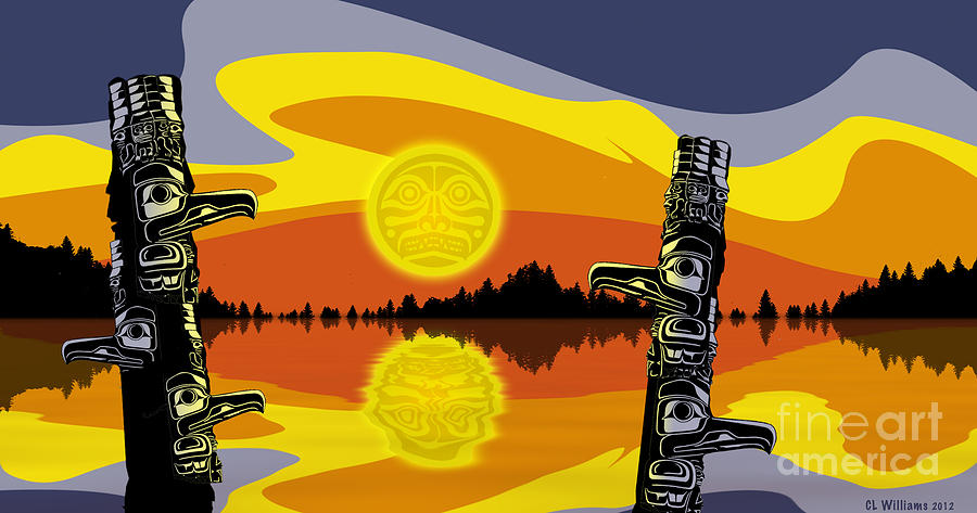 Haida Sunset Digital Art  - Haida Sunset Fine Art Print