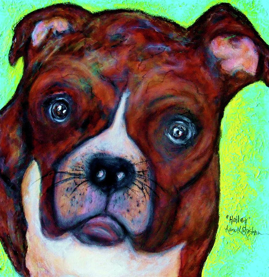 Fine Art Painting - Hailey The Boxer by Laura  Grisham