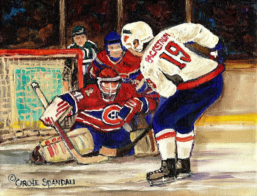 Halak Blocks Backstrom In Stanley Cup Playoffs 2010 Painting