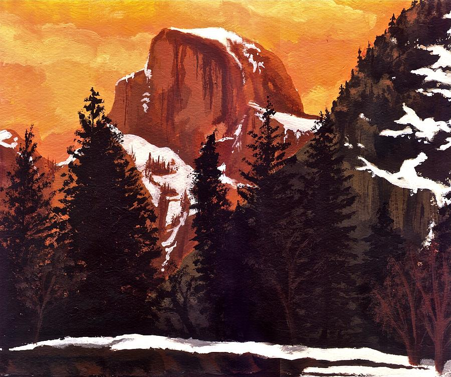 Mountain Painting - Half Dome Sunset by Sara Coolidge