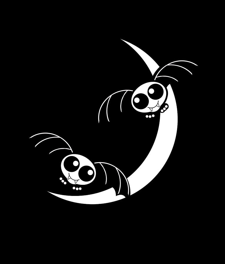 Halloween Bats And Crescent Moon Mixed Media