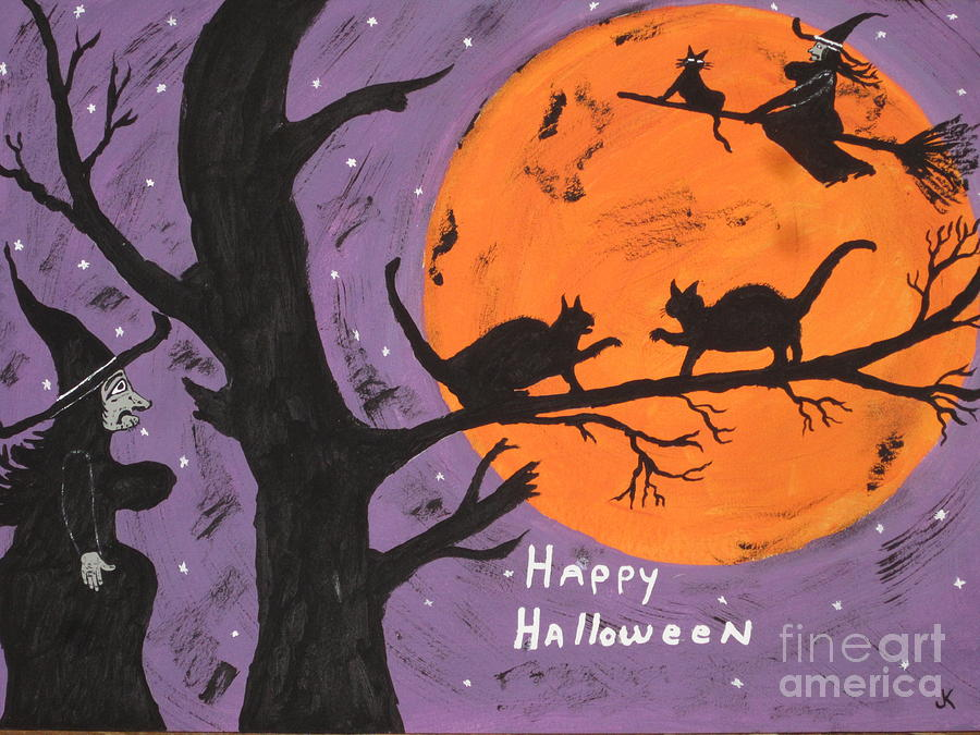 Halloween Cat Fight Painting  - Halloween Cat Fight Fine Art Print