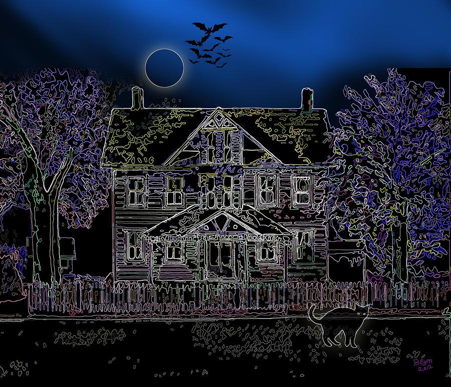 Black Cat Painting - Halloween Haunt by Clara Sue Beym