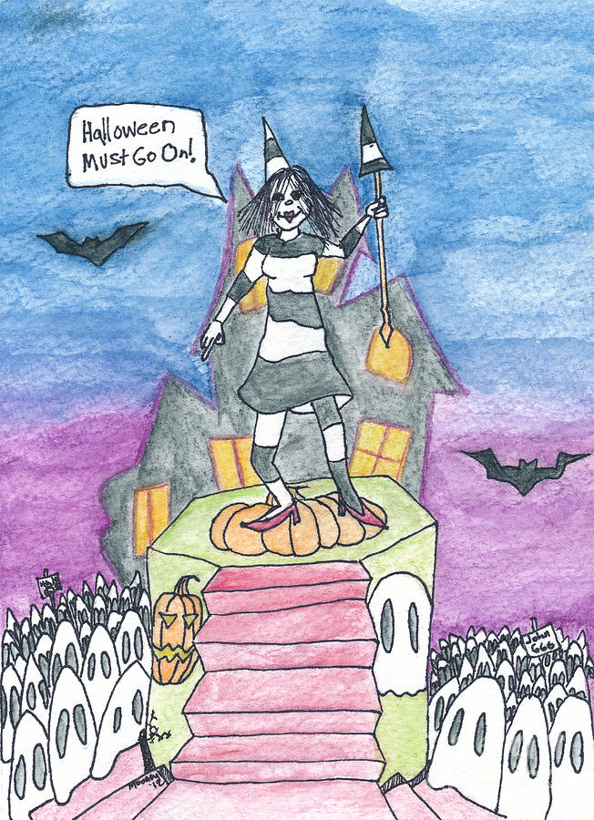 Watercolor Drawing Drawing - Halloween Must Go On by Michael Mooney