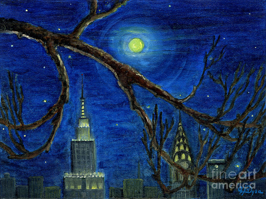 Halloween Night Over New York City Painting  - Halloween Night Over New York City Fine Art Print