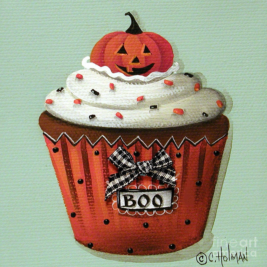 Halloween Pumpkin Cupcake Painting