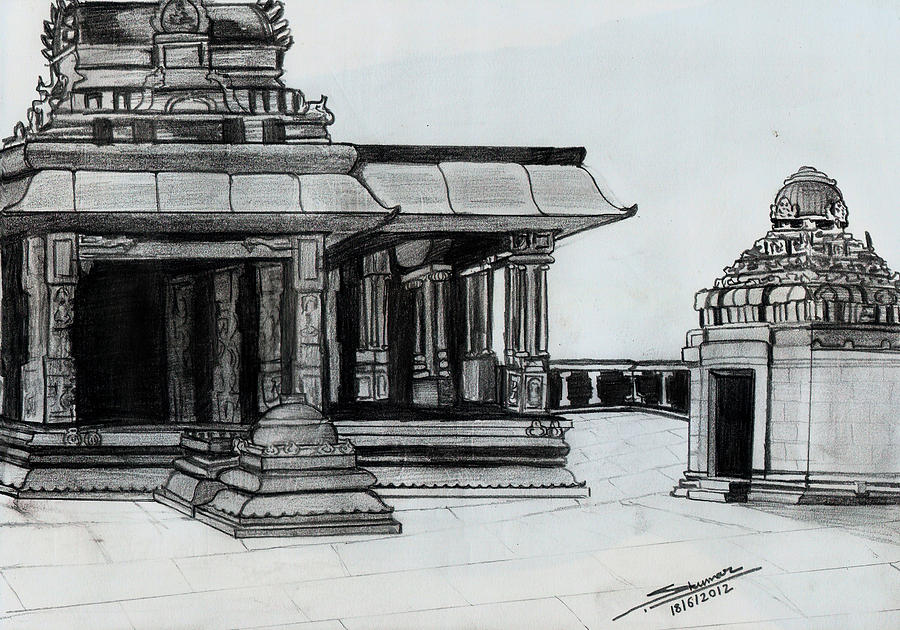 Hampi Stone Structure 2 Drawing