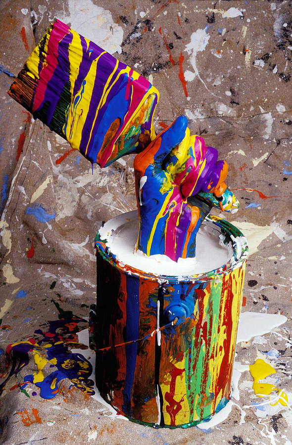 Hand Coming Out Of Paint Bucket Photograph