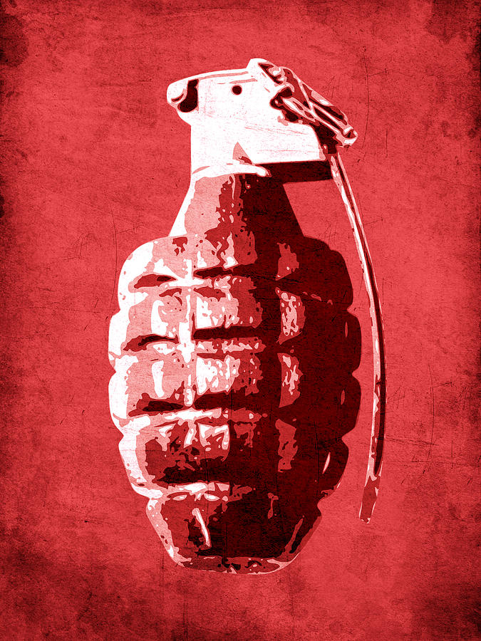 Hand Grenade On Red Digital Art  - Hand Grenade On Red Fine Art Print