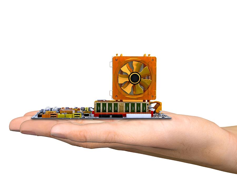 Hand With Computer Motherboard, Artwork Photograph