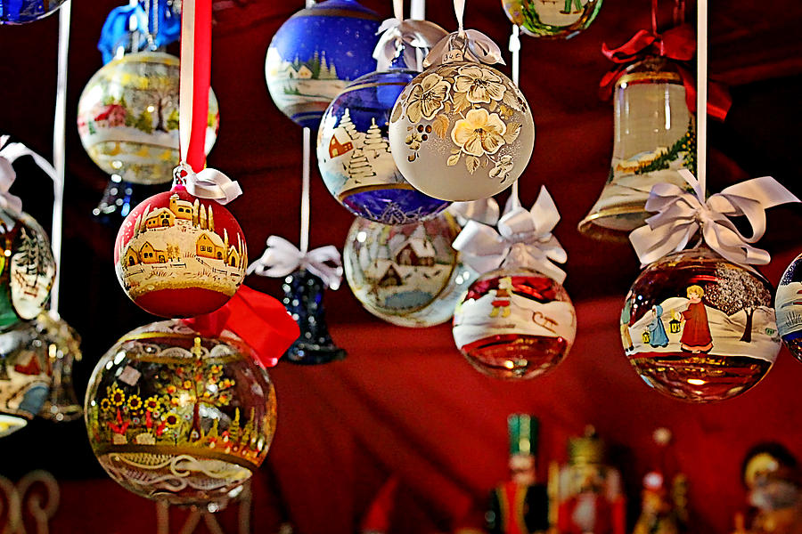 Holidays Photograph - Handcrafted Mouth Blown Christmas Glass Balls by Christine Till