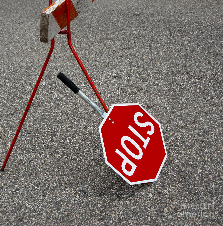 Handheld Stop Sign Photograph  - Handheld Stop Sign Fine Art Print