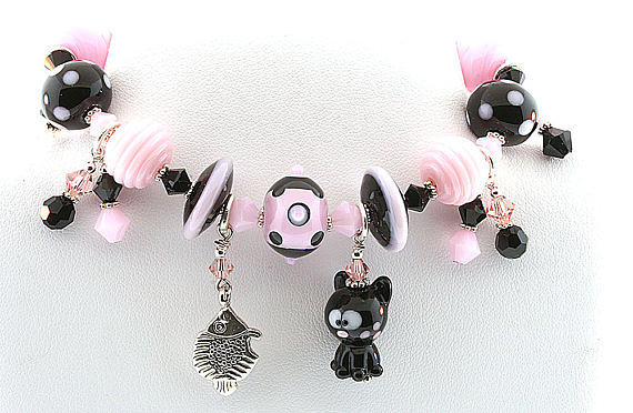 Handmade Glass Lampwork Black And Pink Cat Bracelet Jewelry