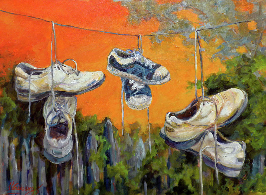 Hanging Tennis Shoes Painting  - Hanging Tennis Shoes Fine Art Print