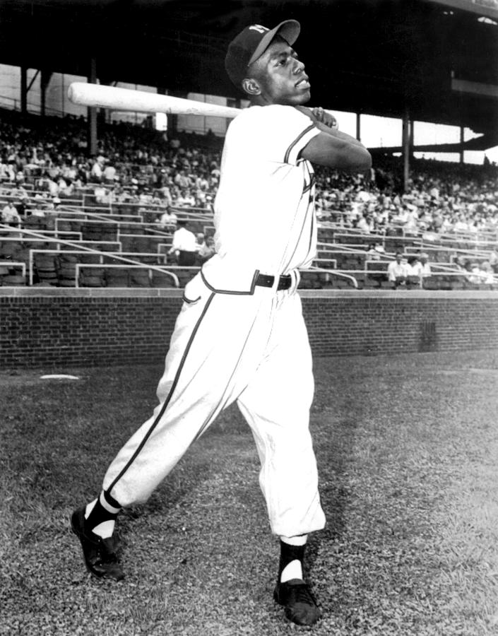 Hank Aaron Of The Milwaukee Braves, Ca Photograph