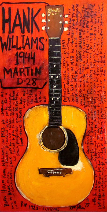Hank Williams 1944 Martin D28 Painting  - Hank Williams 1944 Martin D28 Fine Art Print