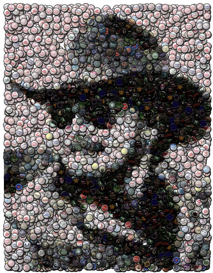 Hank Williams Jr. Bottle Cap Mosaic Digital Art  - Hank Williams Jr. Bottle Cap Mosaic Fine Art Print
