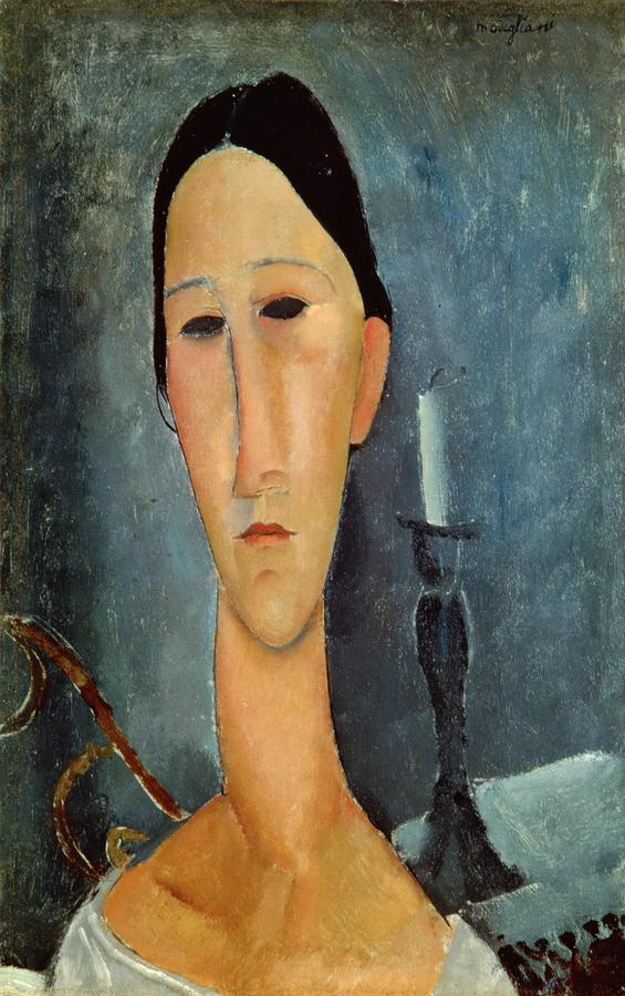 Hanka Zborowska With A Candlestick Painting