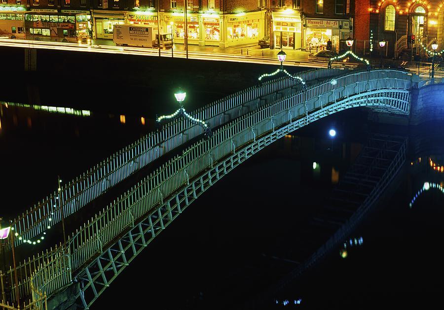 Canal Photograph - Hapenny Bridge, Dublin City, Co Dublin by The Irish Image Collection