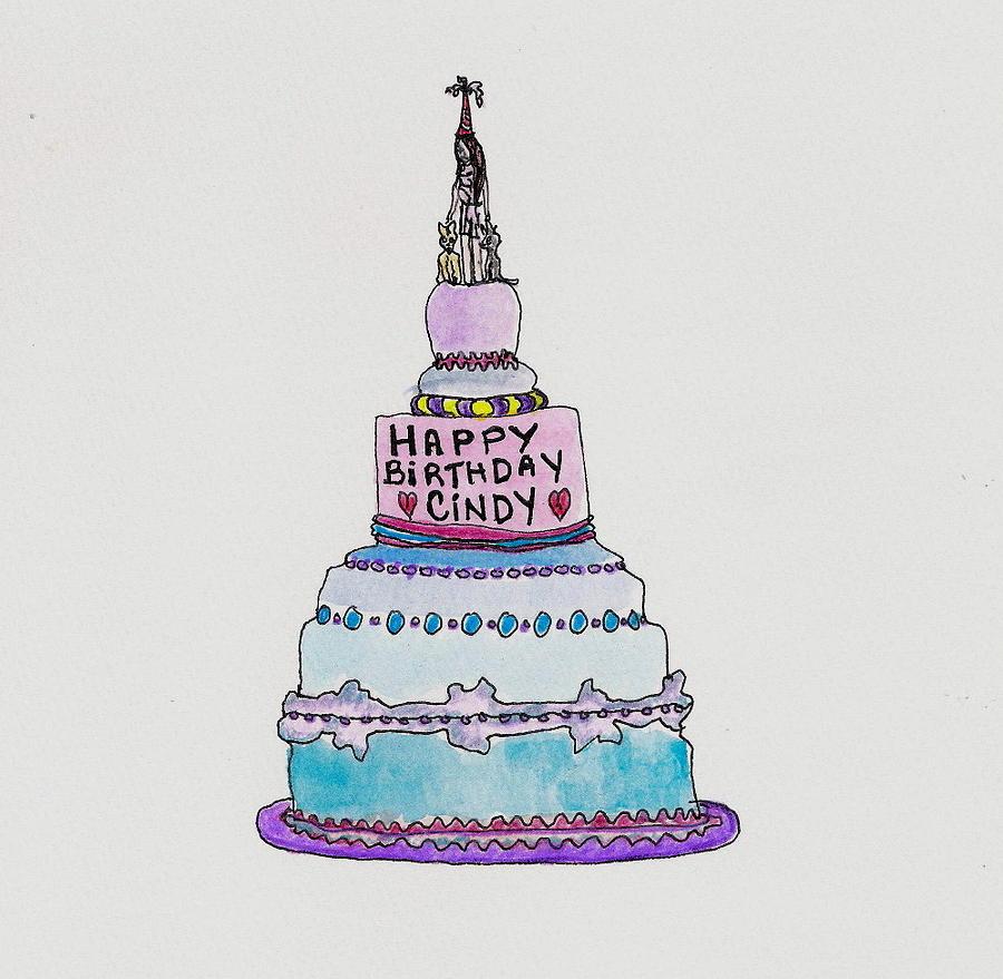 Happy Birthday Cindy Card Drawing