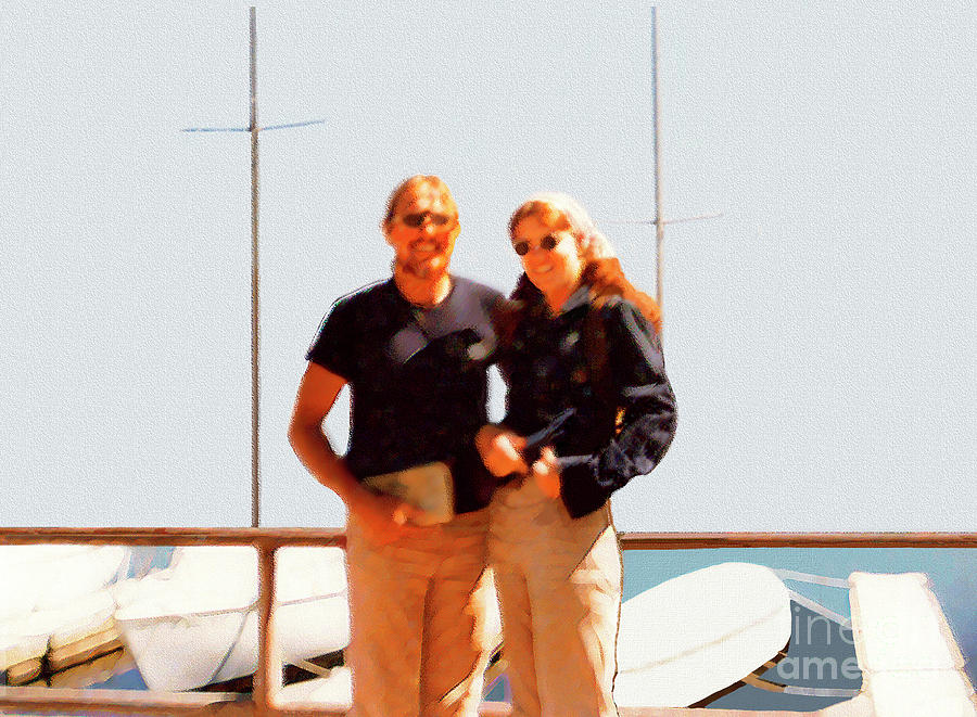 Happy Couple At The Yacht Harbor Digital Art  - Happy Couple At The Yacht Harbor Fine Art Print